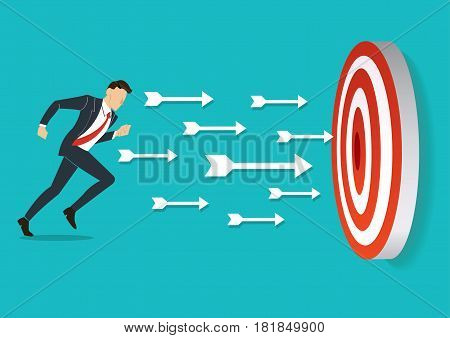 businessman running to target archery Business concept illustration.