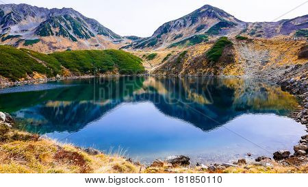 Mountain and lake at Murodo in Japan Alpine route
