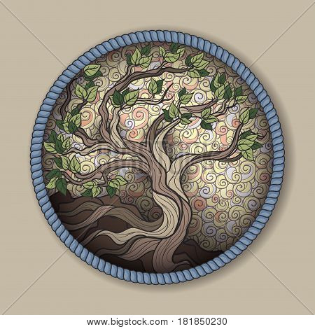 Bonsai tree in round frame on a brown background
