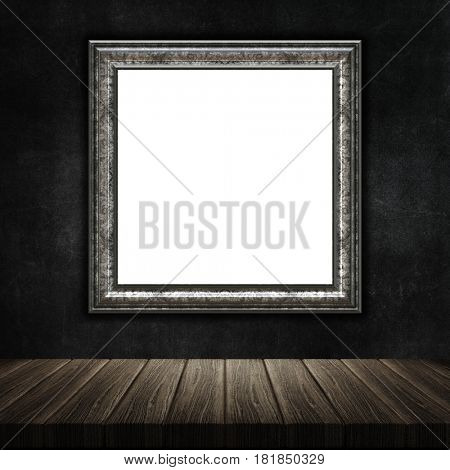 3D render of a grunge picture frame with a wooden table against a grunge metal background
