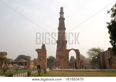 DELHI, INDIA - FEBRUARY 13: Qutub Minar Tower, Delhi, India on February 13, 2016.
