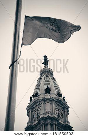 Philadelphia flag and city Hall