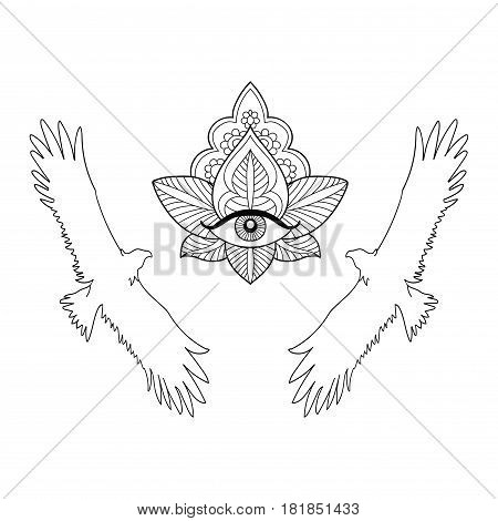 Seamless pattern of an eagle and third eye on a white background.