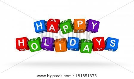Happy Holidays. Colorful Toy Block Flying on White Background. 3D illustration.