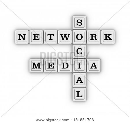Social media network crossword puzzle. Social networking concept. 3D illustration isolated on white background.