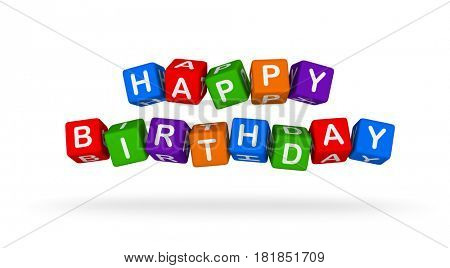 Happy Birthday. Colorful Toy Block Flying on White Background. 3D illustration.