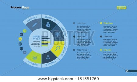 Six sectors process chart. Business data. Circle, diagram, design. Creative concept for infographic, templates, presentation, report. Can be used for topics like planning, management, teamwork.