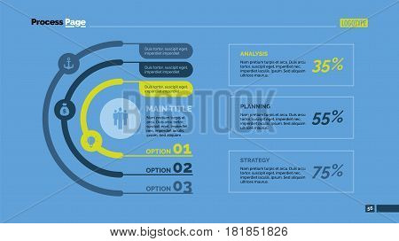 Three arcs percentage chart. Business data. Review, diagram, design. Concept for infographic, presentation, report. Can be used for topics like analysis, statistics, finance.