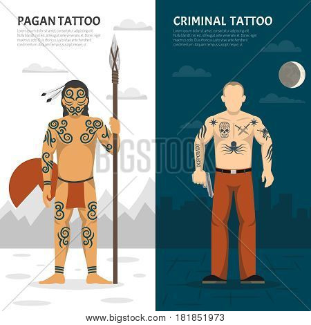 Two isolated tattoo studio vertical banner set with pagan tattoo and criminal tattoo descriptions vector illustration