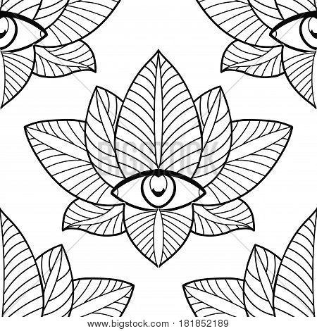 Seamless lotus and third eye on white background.