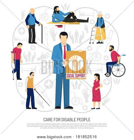 Social support for disabled people composition with elderly persons homeless invalids around man with placard vector illustration