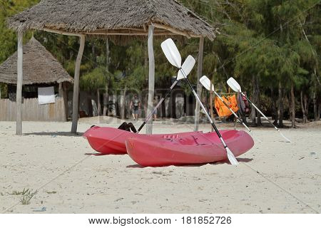 A Rowing boat on the beach of Zanzibar