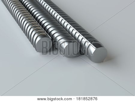 Metal reinforcements, close up, on gray background. 3D rendering