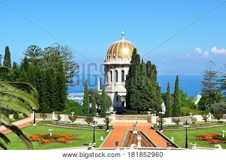 Panoramic landscape with Bahai Gardens and sea port. Haifa, Israel.