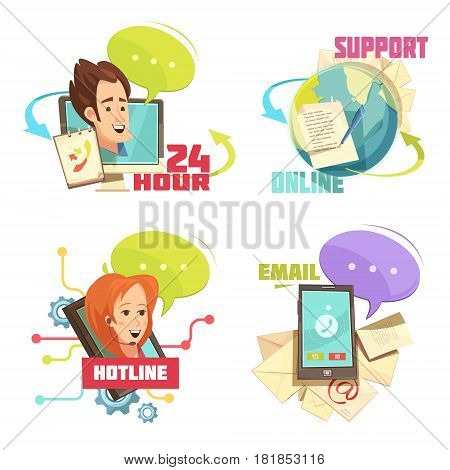Contact us retro cartoon compositions with customer service 24 hour support online hotline email isolated vector illustration