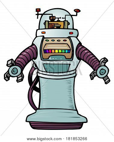 Cartoon robot in fifties futuristic style, reminiscent of old movies.