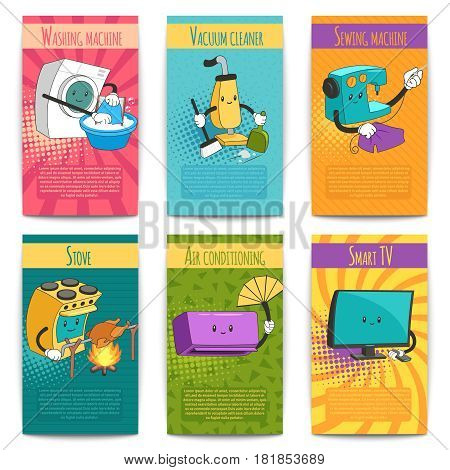 Six colored comic posters on domestic theme with household appliances in cartoon style flat vector illustration