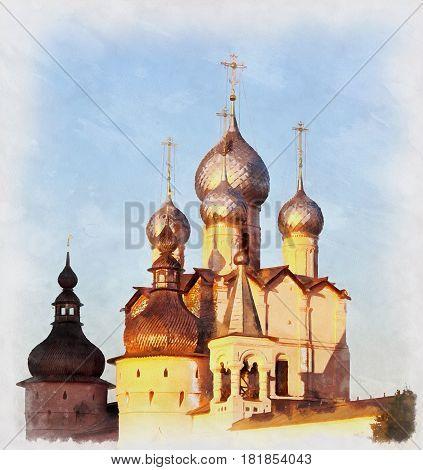 Colorful painting of Church of Resurrection, Rostov, Yaroslavl region, Russia