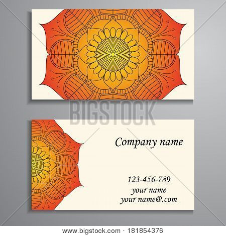 Visiting Card And Business Card Set With Mandala Design Element Logo. Abstract Oriental Layout. Fron