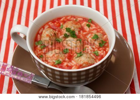 a soup of tomatoes, rice and meatballs