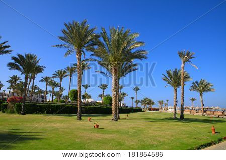 PORT GHALIB, EGYPT - APRIL 02, 2017: Port Ghalib, a beautiful port, marina and tourist town near Marsa Alam, Egypt.