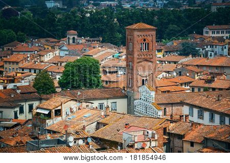 Lucca clock tower viewed from above in Italy.