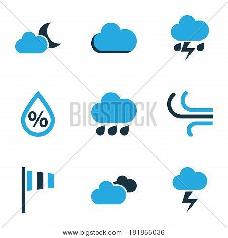 Climate Colored Icons Set. Collection Of Fog, Rainfall, Humidity And Other Elements. Also Includes Symbols Such As Speed, Lightning, Breeze.