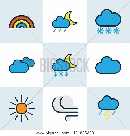 Meteorology Colored Outlines Set. Collection Of Snowing, Overcast Weather, Rainbow And Other Elements. Also Includes Symbols Such As Cloud, Sunshine, Breeze.
