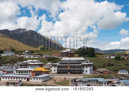 Langmusi, China - Sep 25 2014: Kirti Gompa (dacangnama Ge'erdisi) . A Famous Lamasery In Langmusi, S