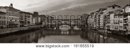 Ponte Vecchio over Arno River panorama in Florence Italy black and white.