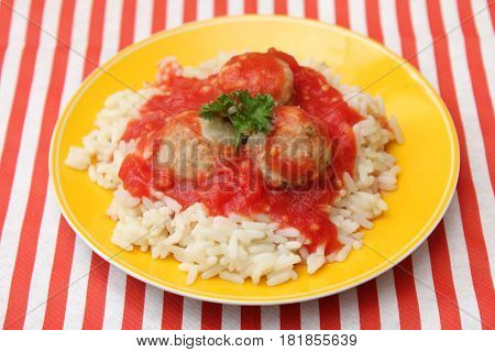 some rice with meatballs and a sauce of tomatoes