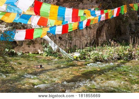 Langmusi, China - Sep 25 2014: Ravine At Kirti Gompa (dacangnama Ge'erdisi) . A Famous Lamasery In L