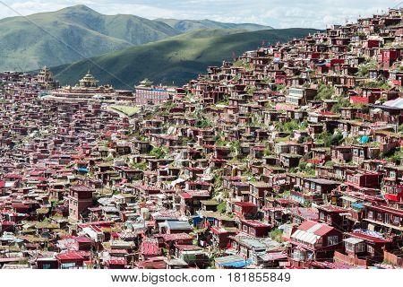 Sichuan, China - Sep 19 2014: Larung Gar(larung Five Sciences Buddhist Academy). A Famous Lamasery I