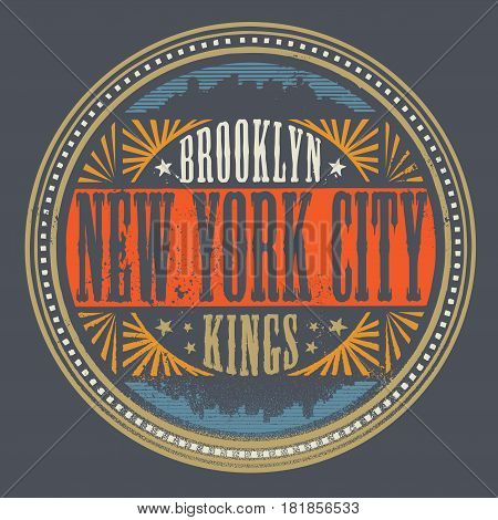 Vintage Brooklyn New York City label or stamp. Typography t-shirt graphics print poster banner flyer postcard