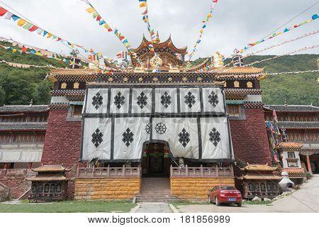 Sichuan, China - Jul 17 2014: Jingang Monastery. A Famous Lamasery In Kangding, Sichuan, China.