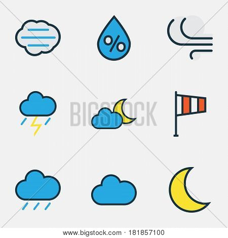 Climate Colored Outlines Set. Collection Of Thunderstroke, Tempest, Cloudy Day And Other Elements. Also Includes Symbols Such As Crescent, Thunderstroke, Storm.