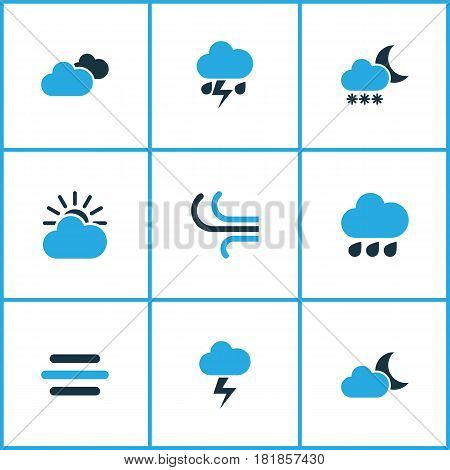 Weather Colored Icons Set. Collection Of Blizzard, Wind, Cloudy Sky And Other Elements. Also Includes Symbols Such As Snowfall, Lightning, Cloud.
