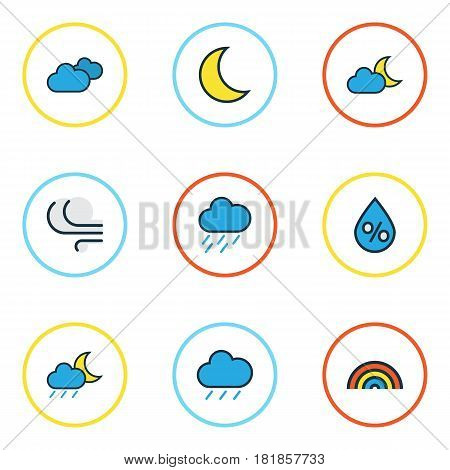 Weather Colored Outlines Set. Collection Of Lunar, Windy, Rainbow And Other Elements. Also Includes Symbols Such As Nimbus, Hail, Tempest.
