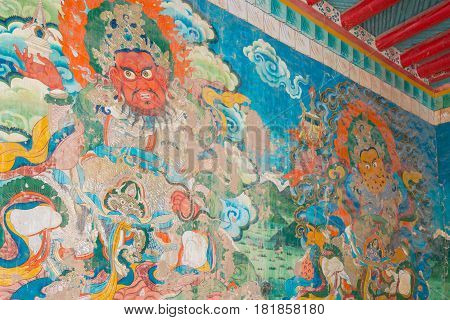 Luhuo, China - Sep 18 2014: Wall Painting At Shouling Temple. A Famous Lamasery In Luhuo, Sichuan, C