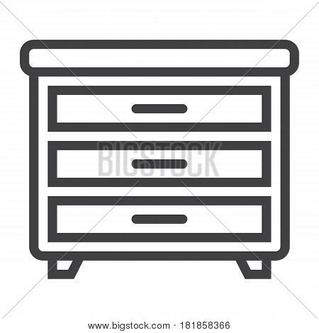 Drawer unit line icon, Furniture and interior element, vector graphics, a linear pattern on a white background, eps 10.