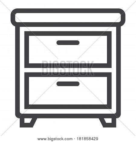 Bedside table line icon, Furniture and interior element, vector graphics, a linear pattern on a white background, eps 10.