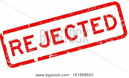 Grunge red rejected square rubber seal stamp on white background