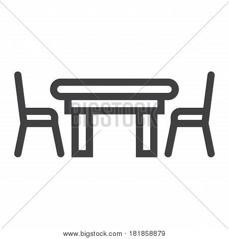 Dining table line icon, Furniture and interior element, vector graphics, a linear pattern on a white background, eps 10.