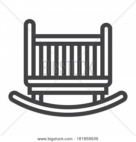 Cradle line icon, Furniture and interior element, vector graphics, a linear pattern on a white background, eps 10.