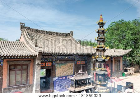 Xining, China - Jul 5 2014: North Mountain Temple(tulou Guan). National 3A Turist Attraction, Import