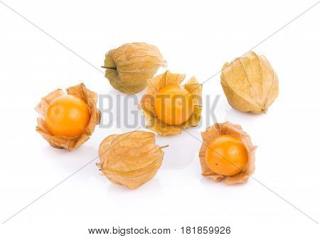 Close Up cape gooseberry on white background. physalis