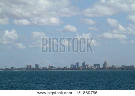 The skyline of Dar Es Salaam in Tanzania in smog
