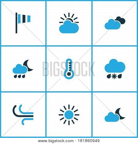 Meteorology Colored Icons Set. Collection Of Wind, Cloudy Sky, Overcast And Other Elements. Also Includes Symbols Such As Cold, Cloud, Snow.