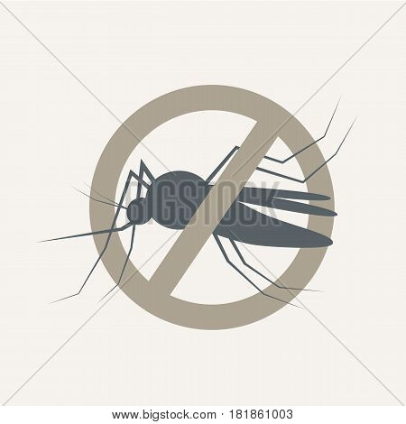 Mosquito icon vector. Flat icon isolated on the vintage background