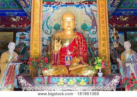Xian, China - Nov 2 2014: Statue Of Xuanzang At Xingjiao Temple. A Famous Temple In Xian, Shaanxi, C